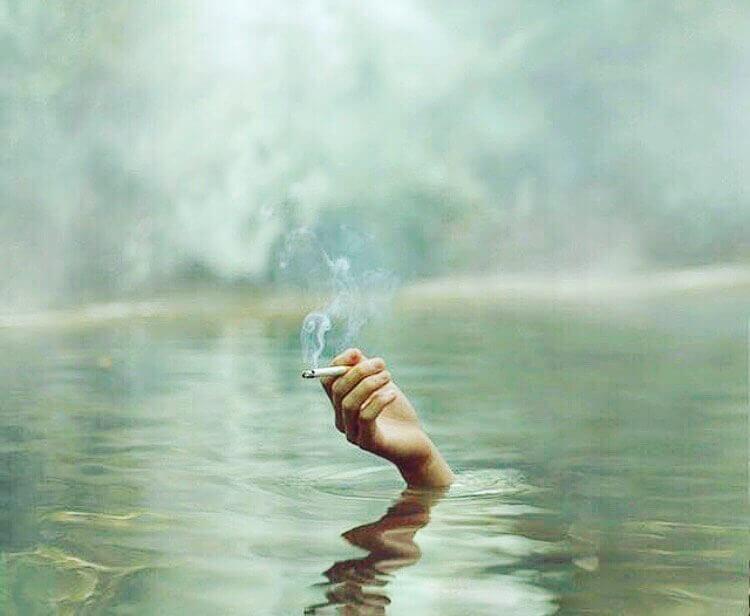 a hand reaching out of a lake holding mountain smokes hemp cbd smokes